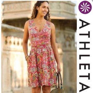 Athleta Jura dress floral paisley orange pink Med
